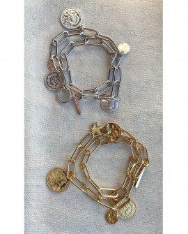 Браслет-цепь серебристый с монетами