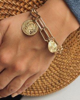 Браслет-цепь золотой с монетами