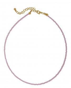 Чокер из розового граненного хрусталя 1mm G