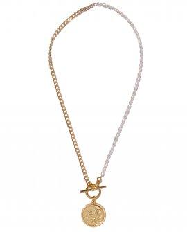 Колье из жемчуга и цепочки с медальоном DN