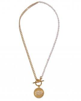 Колье из жемчуга и цепочки с медальоном EVER