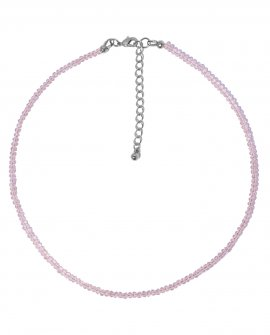 Чокер из розового граненного хрусталя 2мм S