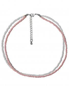 Чокер из белого и розового бисера