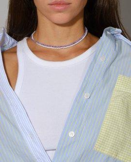 Чокер из белого и фиолетового бисера